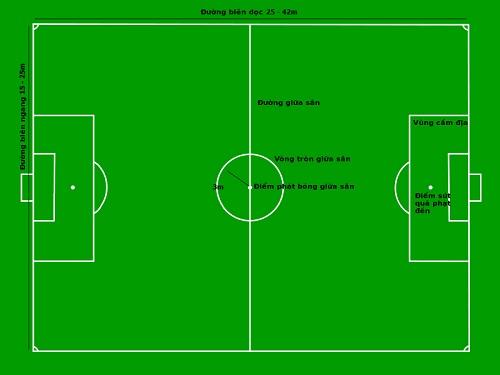 Kích thước tiêu chuẩn sân bóng đá cỏ nhân tạo mini 5 người