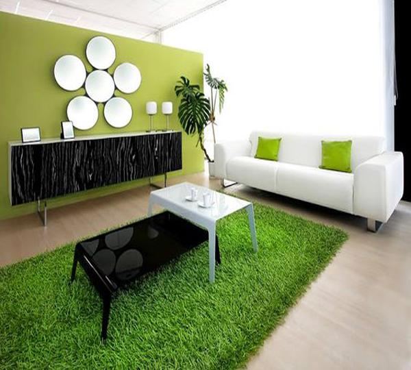Không gian tươi mát xanh mướt với cỏ nhân tạo