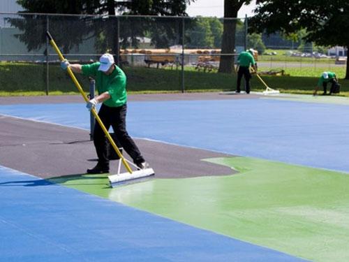 Thi công sân tennis 7 lớp sơn