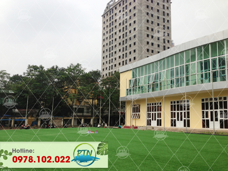 Thi công sân cỏ nhân tạo trường thể dục thể thao Ba Đình