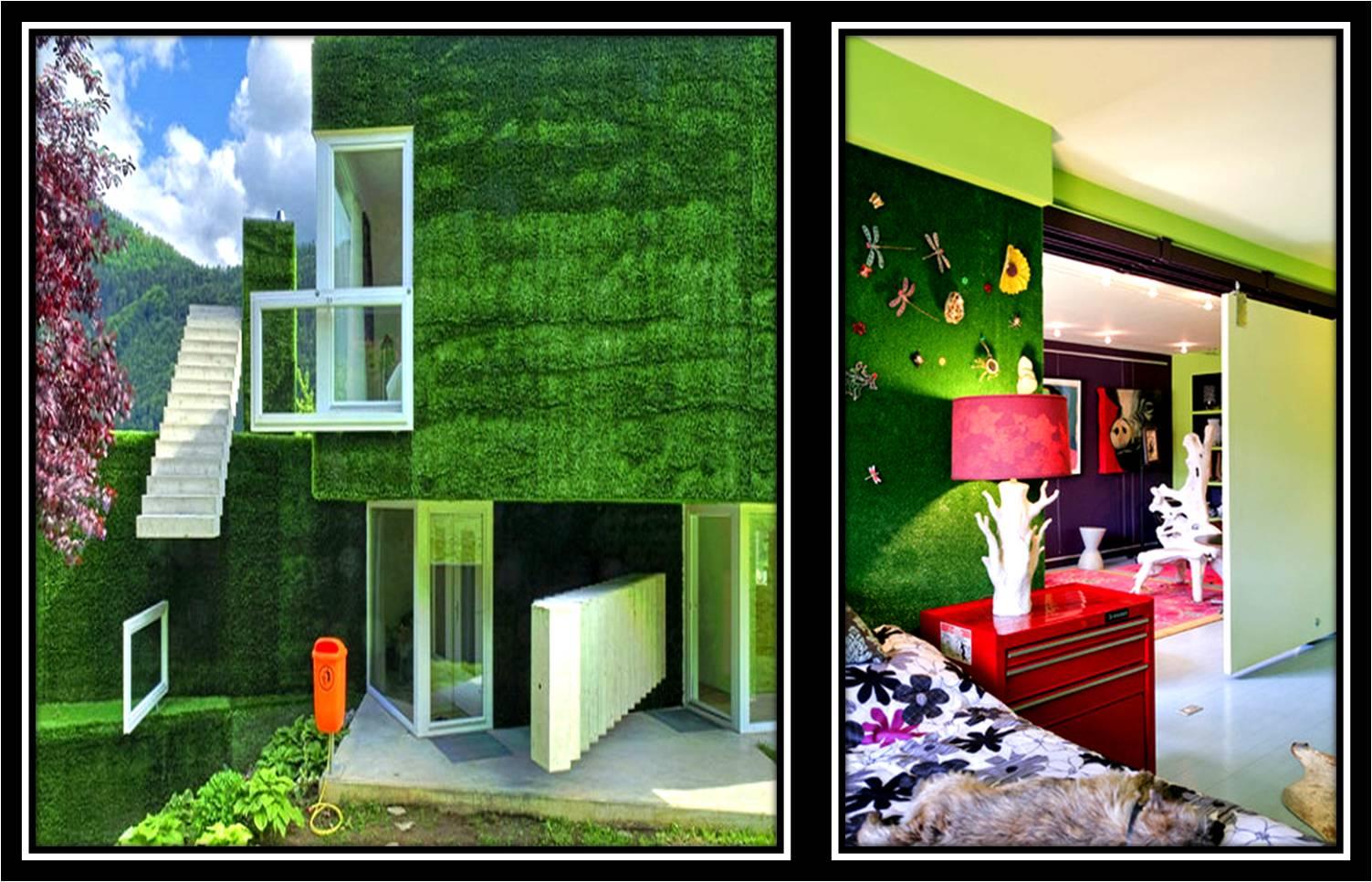 Trang trí nội thất bằng cỏ nhân tạo sân vườn